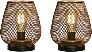 JHY Design Set of 2 Metal Cage LED Lantern Battery Powered, Cordless Accent Light with LED Edsion Style Bulb. Great for Weddings,Parties,Patio, Events for Indoors Outdoors.