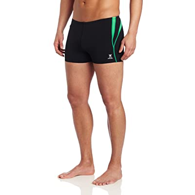 .com : TYR Men's Alliance Durafast Splice Square Leg, Black/Green, 32 : Athletic Swim Briefs : Clothing