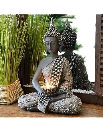 INtrenDU® Buda Figura Decorativa Chino 31 cm con candelabro decoración Zen para Interior Feng Shui
