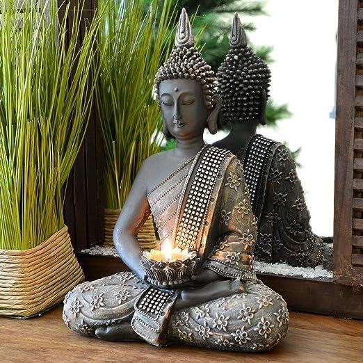 Figura decorativa con diseño de Buda chino de 31 cm. con candelabro, decoración zen para interior Feng Shui