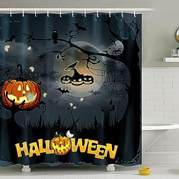 72quot X Halloween Shower Curtain Waterproof Antibacterial Bathroom Curtains Decor Mildew Resistant