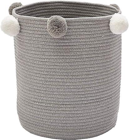Zinsale Cuerda de algodón Cestos para la Colada Pom Pom Robusta Lavable Cesto de lavandería Juguetes para bebés Cesta de Almacenamiento de contenedores (Gris): Amazon.es: Hogar