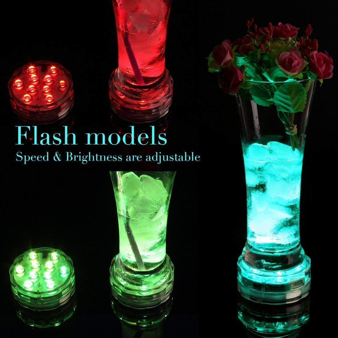 LETOUR RGB Submersible LED Lights Decorative Lights IP68 Waterproof Multi Color Changing Fairy Lights 2.8In 4Packs with 4/×24Key Remote Control for Aquarium Vase Base Pond Wedding Halloween Party