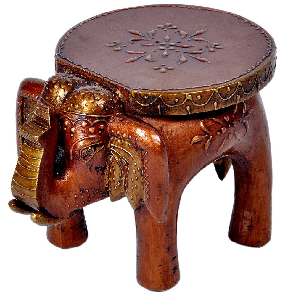 Little India Designer Wooden Elephant Stool Handicraft Gift 304 by Indian Gift Emporium LTA_HCF304_BRN