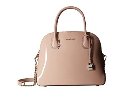 50e731823f5d Amazon.com: Michael Kors Studio Mercer Large Patent Leather Dome Satchel in  Ballet: Shoes