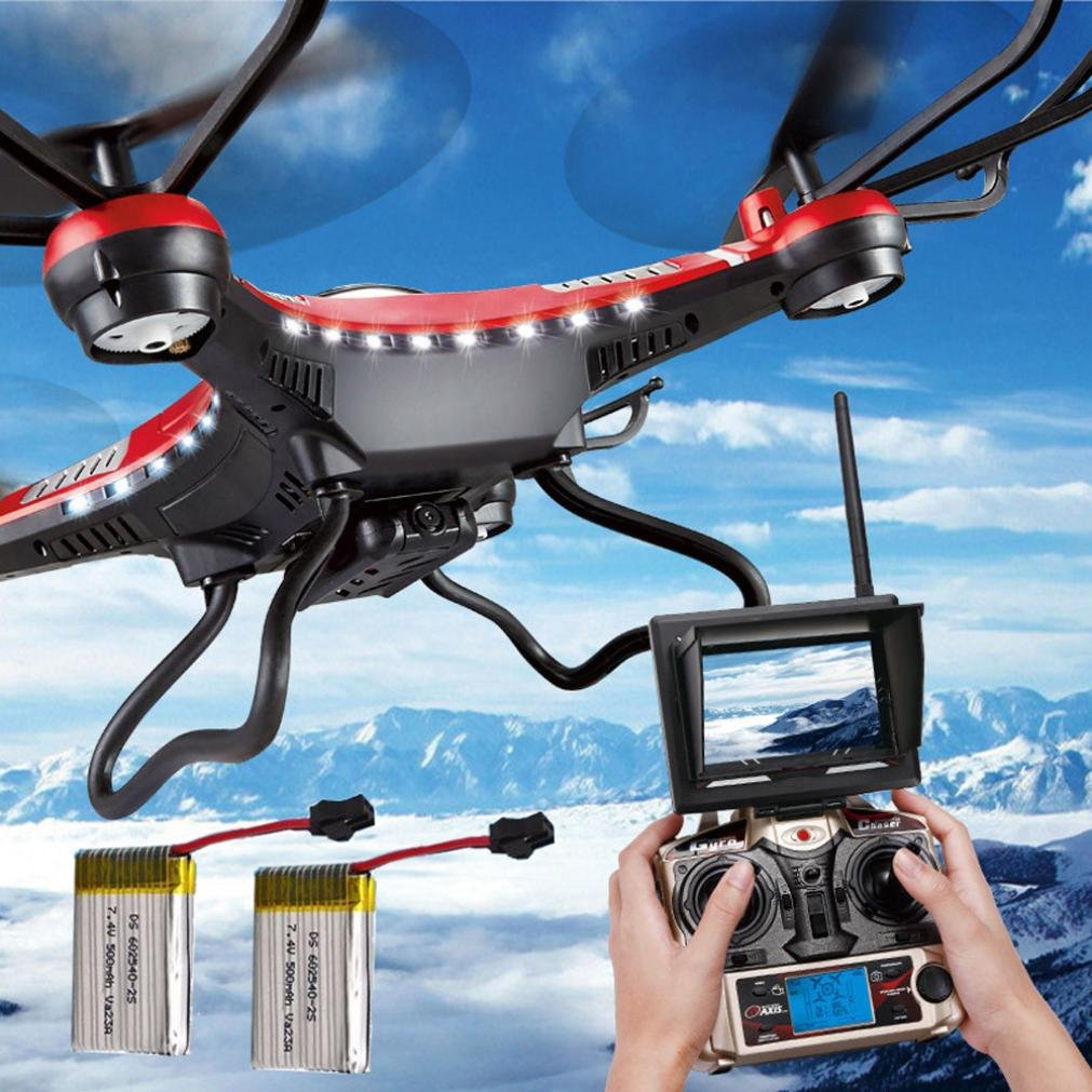 JJRC H8D 6-Axis Gyro 5.8G FPV RC Quadcopter Drone HD Camera+Monitor+2 Battery,Tuscom@ by Tuscom