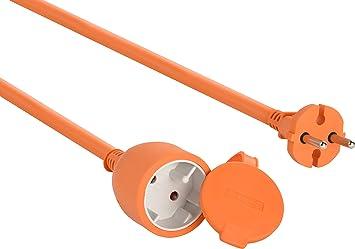 Electraline 20857036F - Cable alargador eléctrico para jardín (20 m) color naranja: Amazon.es: Bricolaje y herramientas