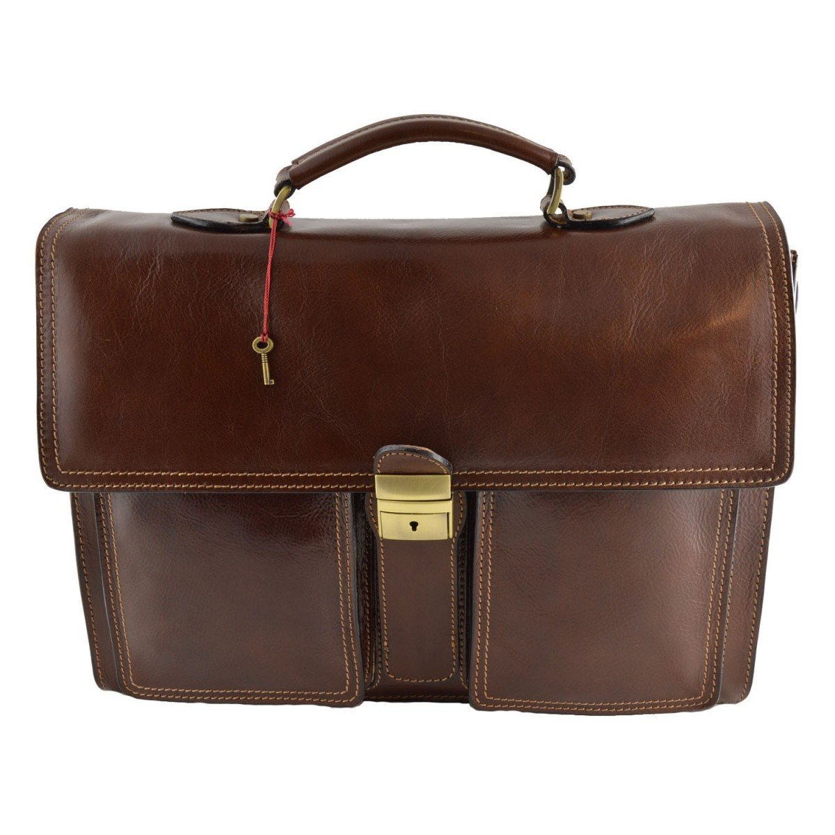 Made In Italy Business Briefcase In Genuine Leather 3 Compartments Color Brown - Business Bag   B01CON7EZE