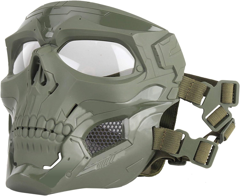 SGOYH Airsoft Táctico Skull Messenger Masks Equipo de protección Máscara Facial Completa para Caza de Halloween Paintball CS Wargame