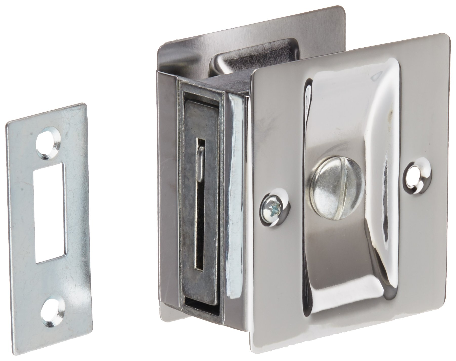 Rockwood 891.26 Brass Pocket Door Privacy Latch, 2-1/2'' Width x 2-3/4'' Height, Polished Chrome Plated Finish