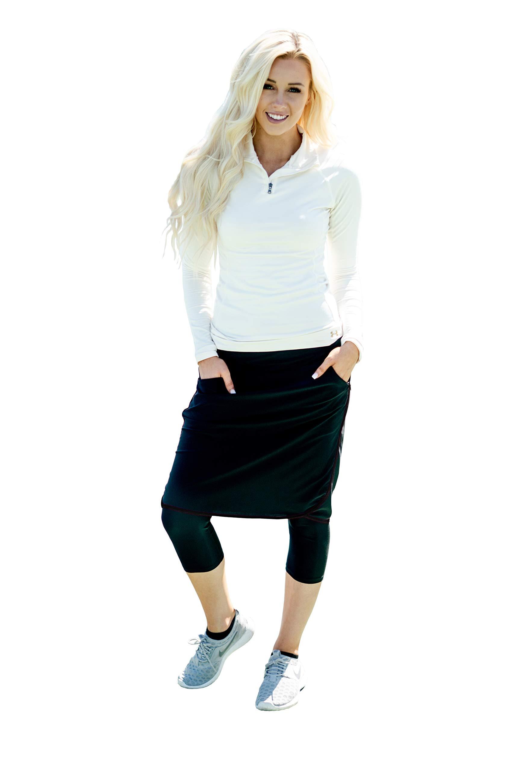 Ella Mae Sports Skirt for Women: Knee-Length Workout Skirt w/Attached Leggings Black