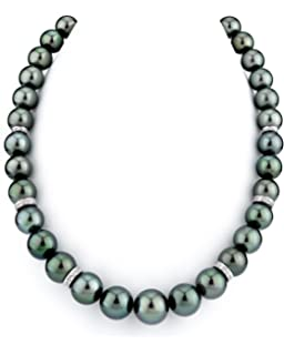 THE PEARL SOURCE 14K Gold 10-13mm Round Genuine Green Tahitian South Sea Cultured Pearl Necklace in 17 Princess Length for Women
