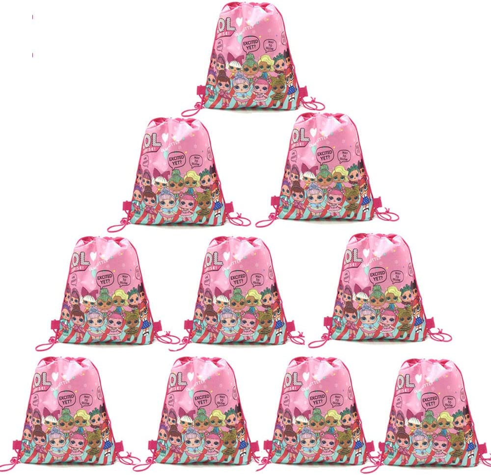 12 pcs L.O.L. Party Drawstring Party Bag, Party Favors Bags Drawstring Backpacks Gifts Bags Birthday Party Supplies for kids Children Girls Baby Shower
