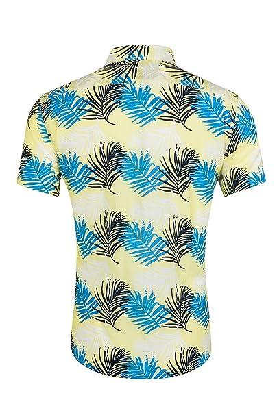 0ce2f183c Yacun Hombres Camisas Hawaianas Floral Casual Tops Manga Corta De La ...