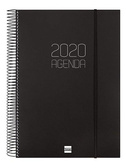 Finocam - Agenda 2020 1 día página Espiral Opaque Negro español