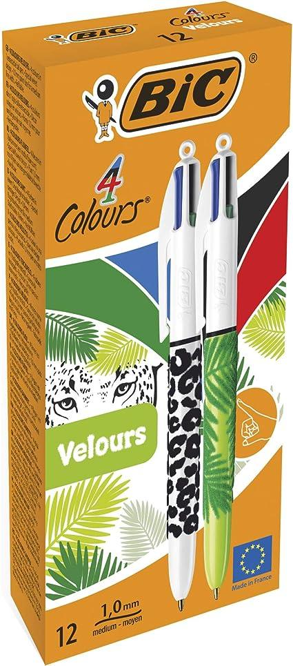 BIC 4 colores Velours - Caja de 12 unidades, bolígrafo motivos ...