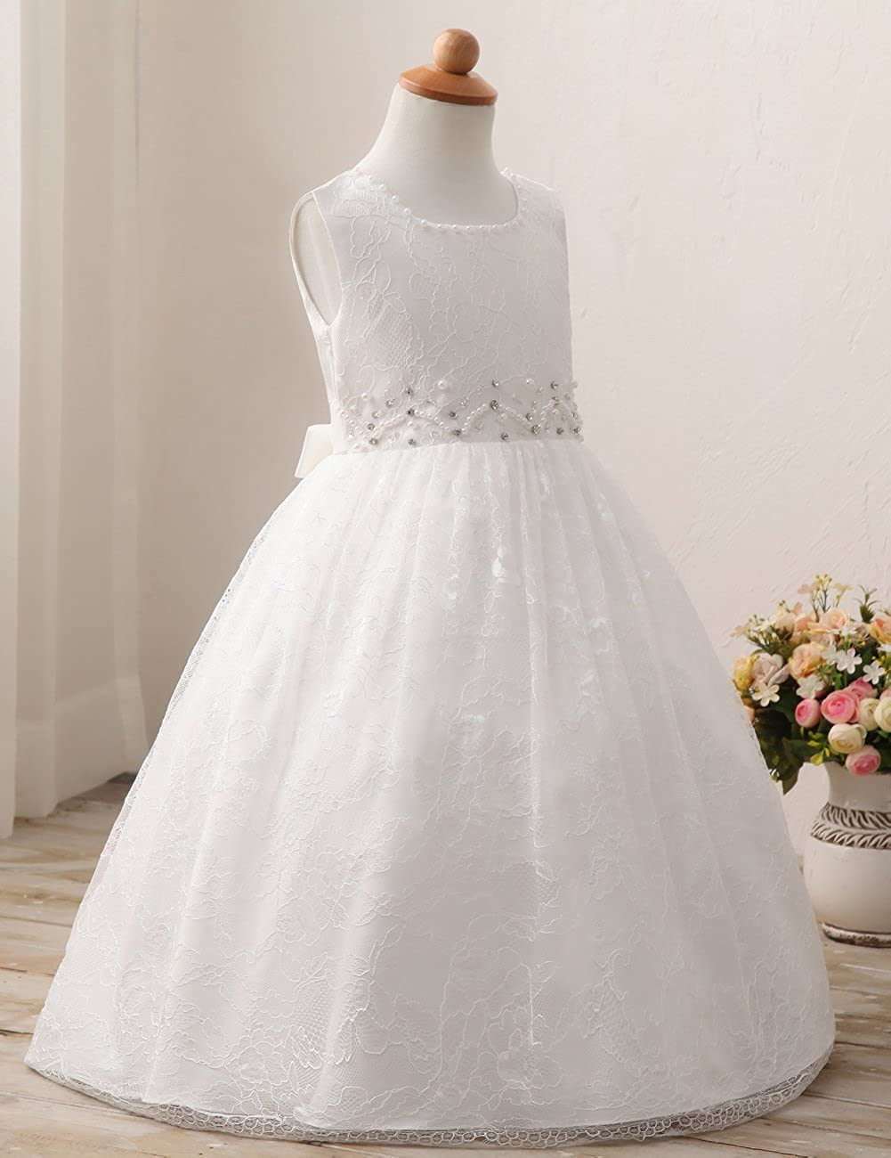 Erosebridal Perline Festa di Compleanno Vestito Pizzo Bianco Fiore Ragazze  Abito Bianca Dimensione 40  Amazon.it  Abbigliamento 707ad0f7293