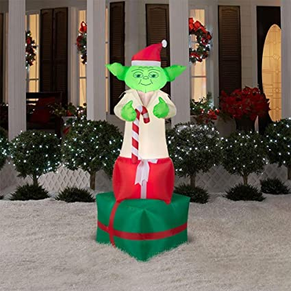 Star Wars Yoda With Candy Cane On Presents Inflatable 6 Foot Self Inflatable