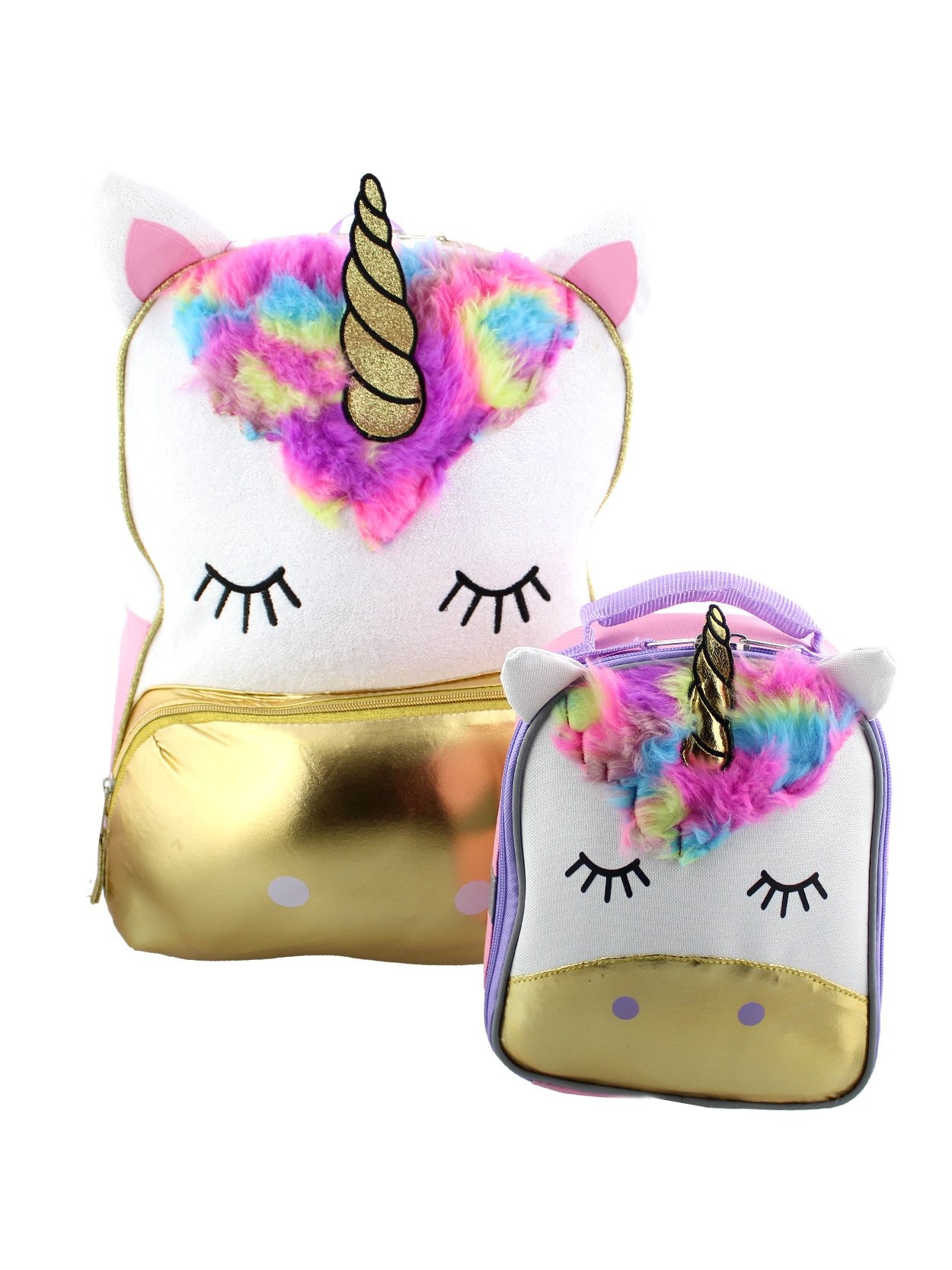 Unicorn Girls Backpack and Lunch Box School Set (One Size, White/Pink)