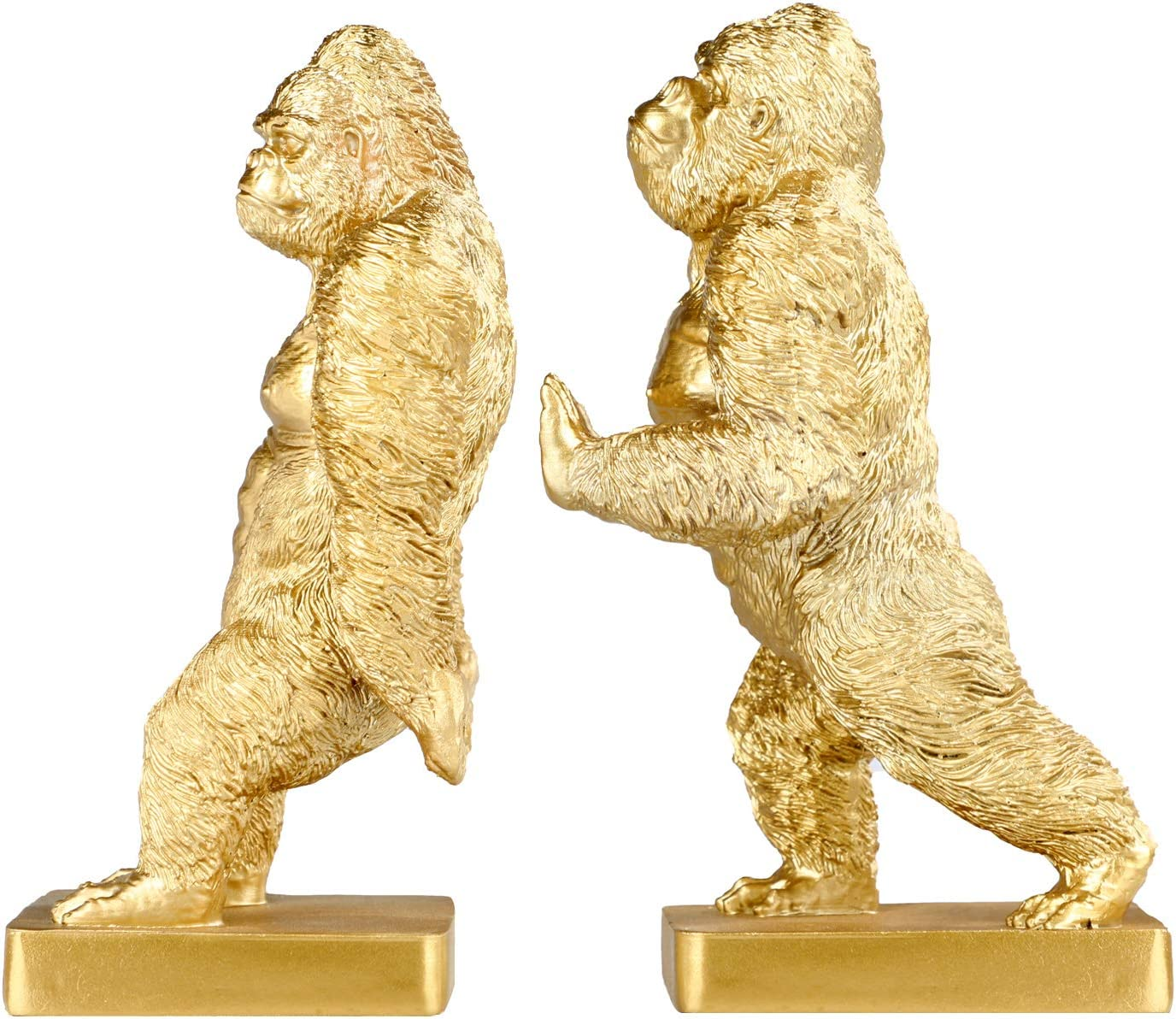 Set of 2 Polyresin Faux Kingkong Bookend, Gorrila Art bookend, Homedecor for Kids, Birthday Gift (Gold)