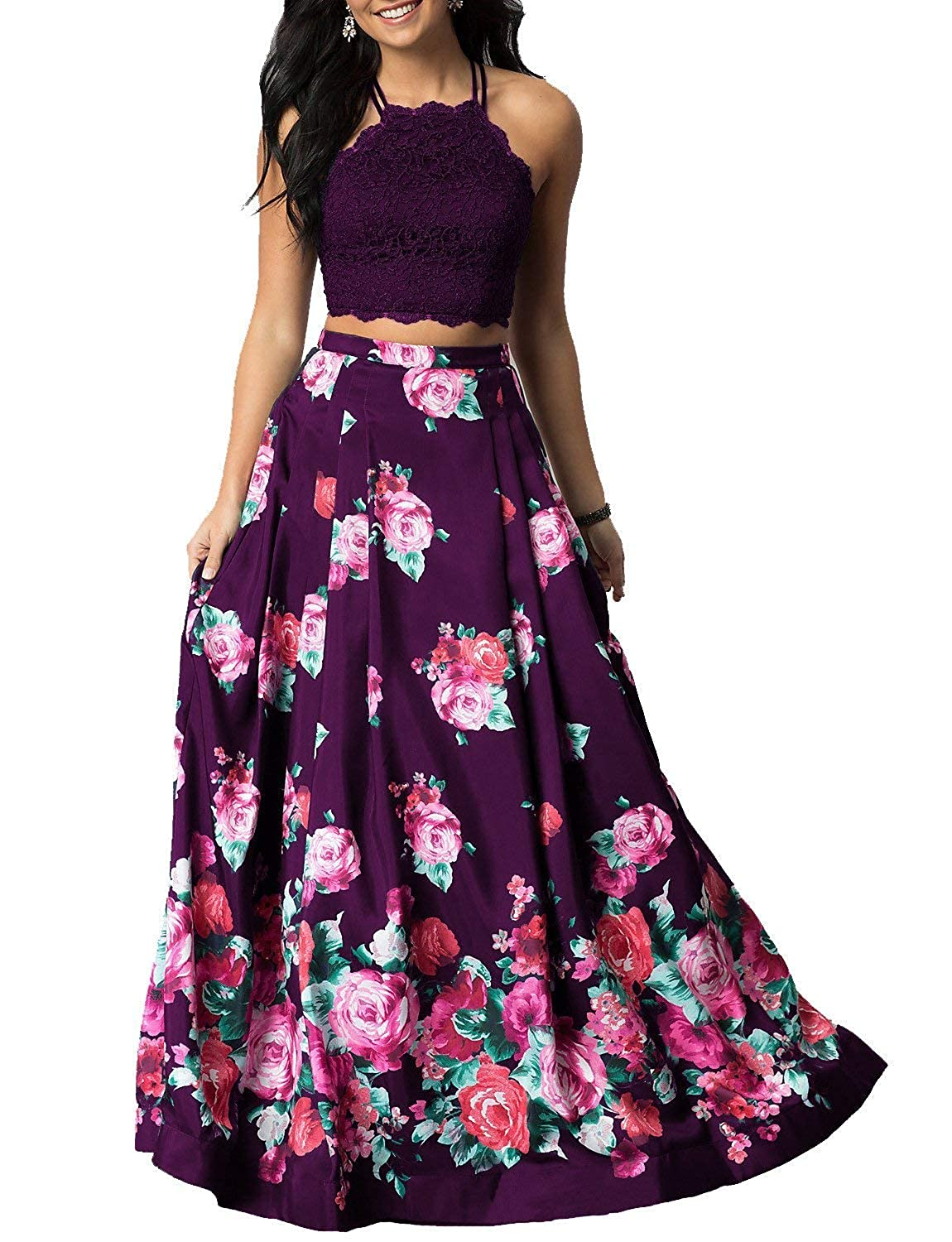 Grape Sulidi Women's Halter Two Pieces Floral Printed Prom Dresses Long Satin Pleated Evening Formal Gown C095