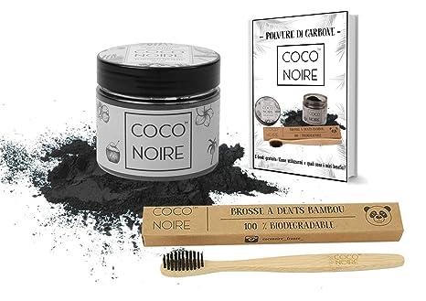 Coco Noire™ | Polvo de Carbón | Blanqueador Dental|Cepillo de Dientes de Bambú