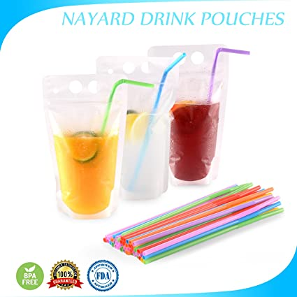 ae148859da88 Drink Pouch Bags with Straws 100 Pcs Smoothie Pouches Reusable Plastic  Drink Bags -Zipper W/Gusset Bottom Stand-up Drinking Pouches-Non-Toxic,BPA  Free ...