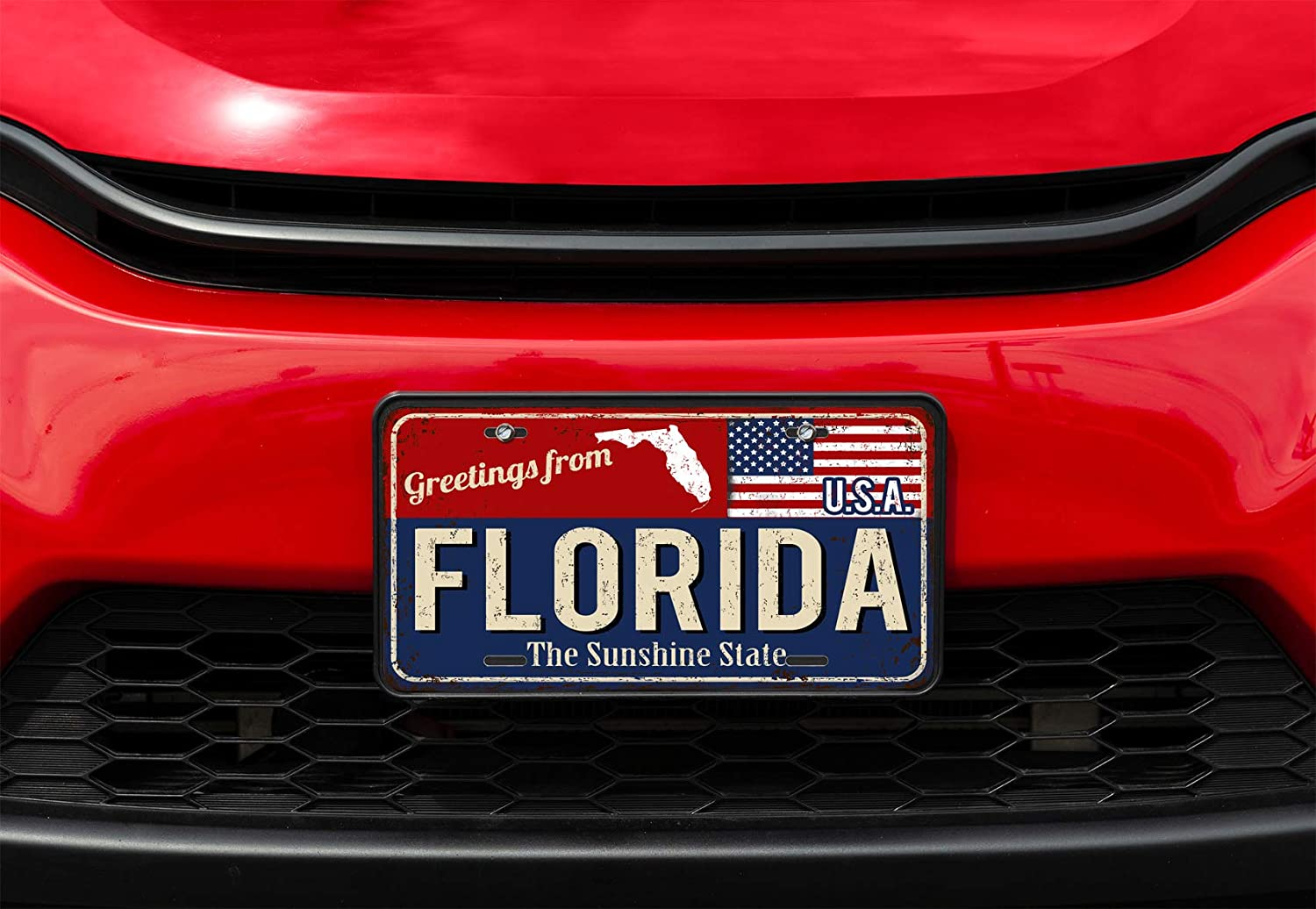 Amcove License Plate Black and White American Flag Decorative Car Front License Plate,Vanity Tag,Metal Car Plate,Aluminum Novelty License Plate for Men//Women//Boy//Girls Car,6 X 12 Inch
