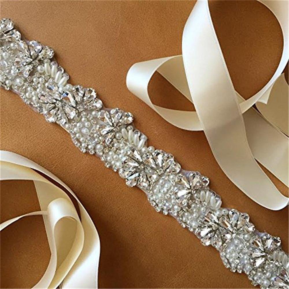QueenDream ivory bridal sash rhinestone bridal sash diamond bridal sash wedding bridal sash lace bridal sash