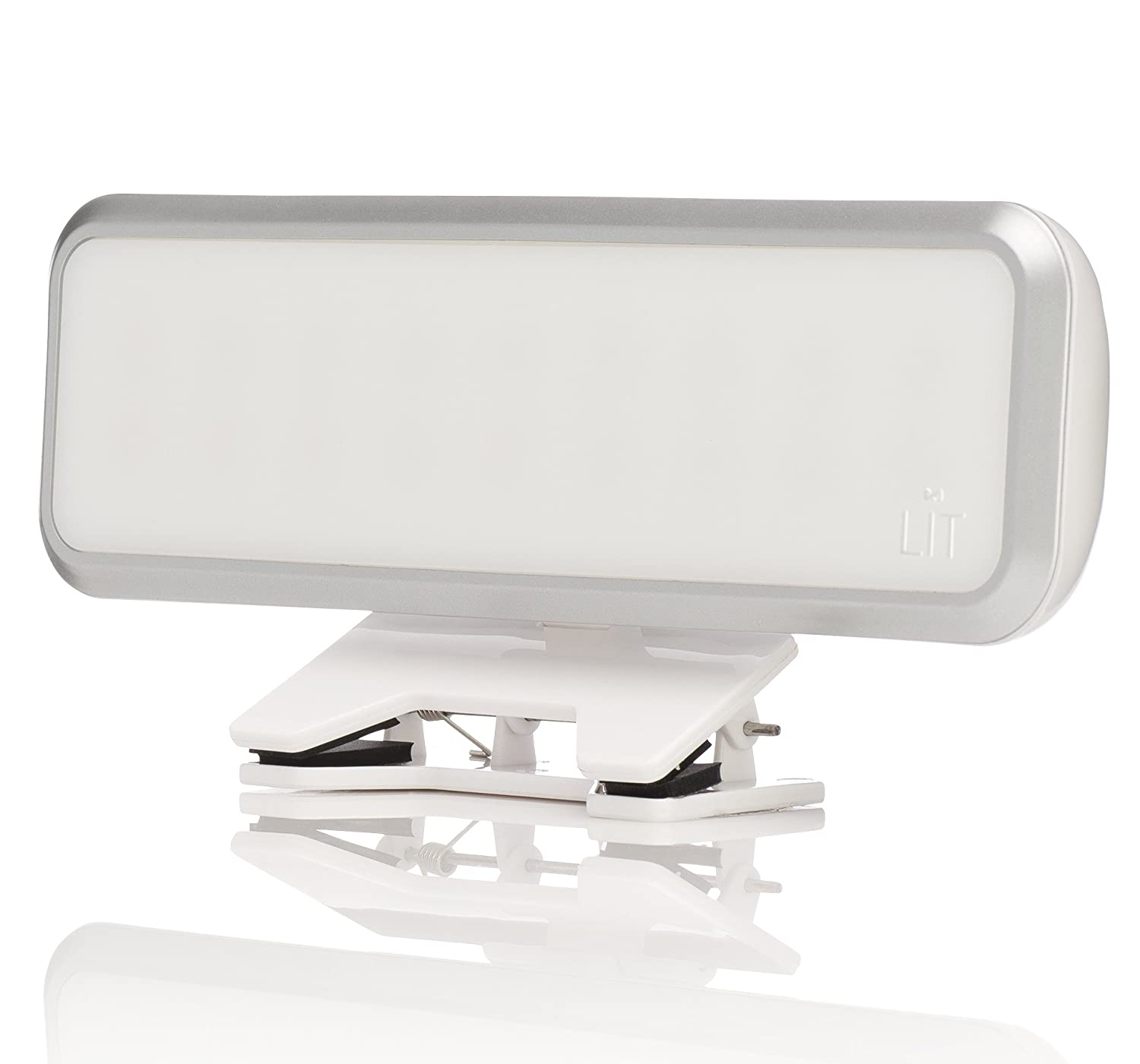 LIT Clip on Camera Light for Cell Phones, Tablets, Computers, Laptops - Features 18 LEDs, Dimmer & Diffuser - Rechargeable Selfie Light - for iPhone, iPad, Samsung Galaxy, and more - White