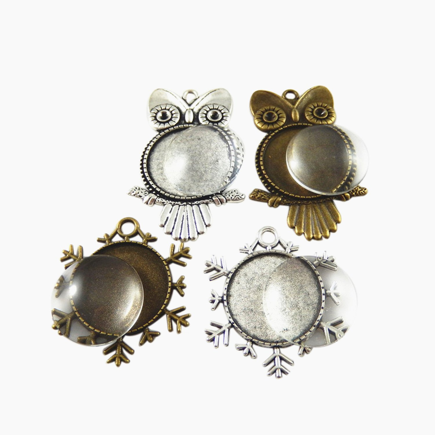 GraceAngie 4 Pieces Silver and Bronze Owl//Snowflake Pendant Trays Round Bezel with 4 Pieces Glass Round Dome Tiles