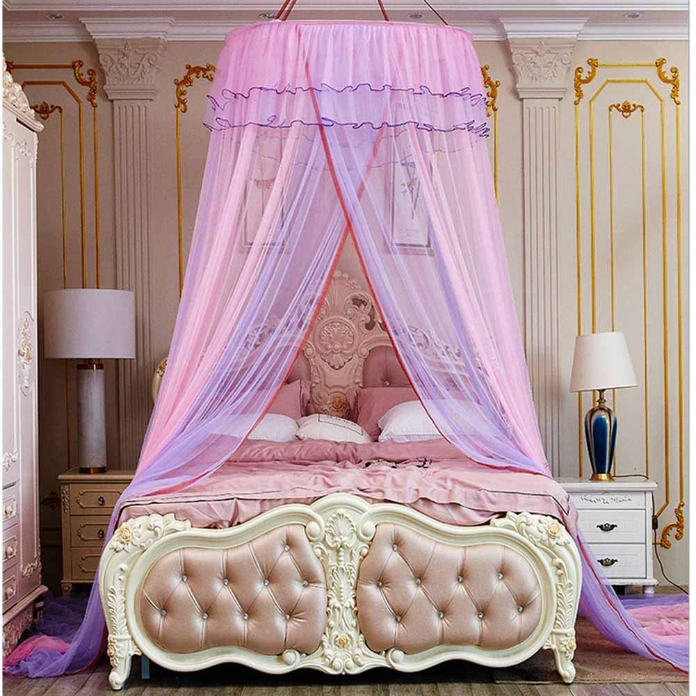 POPPAP Bed Canopy Drapes for Queen Size Bed Kids Audult Dream Tent Ceiling Hanging Round Canopy Curtain Mosquito Net for Bedroom Decorations Pink and Purple Color