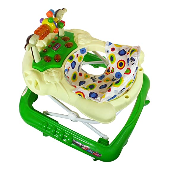 Panda Musical Baby Walker With Tray | Adjustable Height | 6 Months | Best Toy For Infant | Green Colour