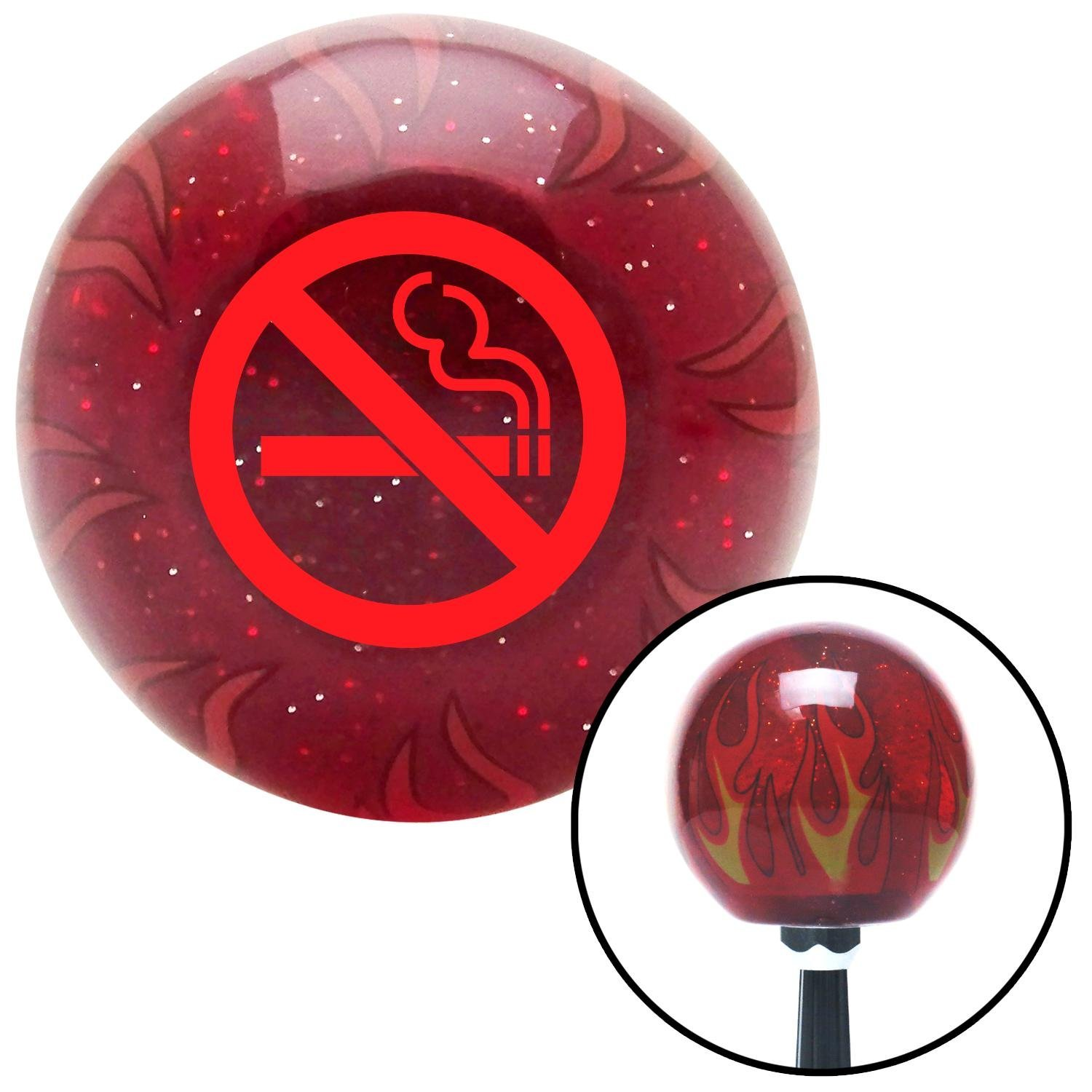 Red No Smoking American Shifter 239808 Red Flame Metal Flake Shift Knob with M16 x 1.5 Insert