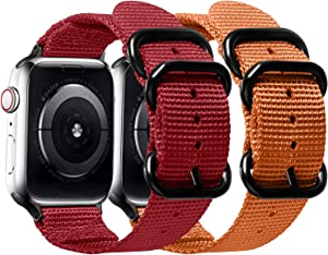 Misker Nylon Band Compatible with Apple Watch Band 44mm 42mm 40mm 38mm,Breathable Sport Strap with Metal Buckle Compatible with iwatch Series 5/4/3/2/1 (2-Packs Orange/Rad, 38mm/40mm)