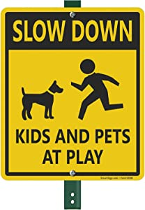 "SmartSign ""Slow Down - Kids And Pets At Play"" LawnBoss Sign 