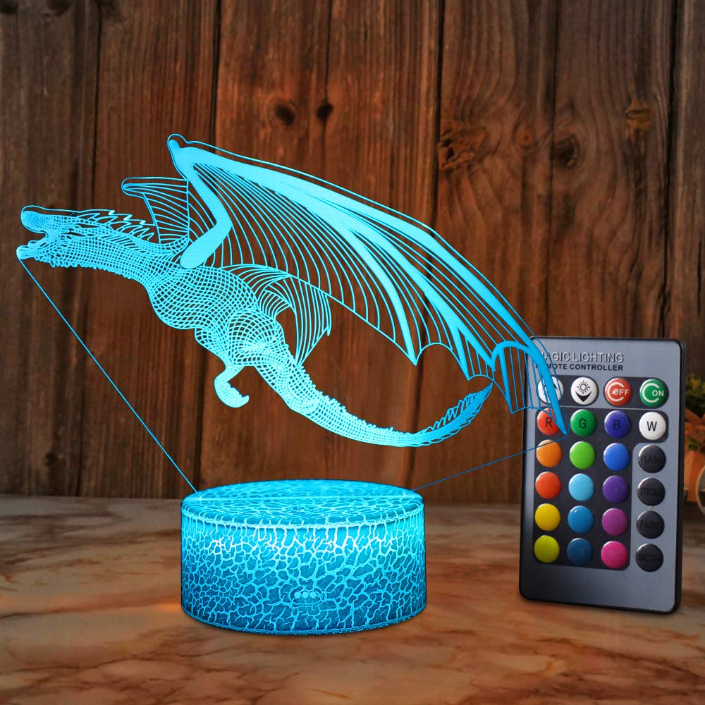 SZLTZK Dragon 3D Illusion Lamp for Boys Dragon Light 16 Colors with Remote Control Smart Touch Night Light Best Christmas Birthday Gifts for Boys Girls Kids Baby Age 5 4 3 1 6 2 7 8 9 10 11 Years Old