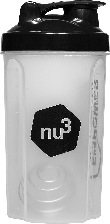 nu3 Shaker - Coctelera para proteínas – 700 ml – agitador de plástico para batidos proteínicos, bebidas de fitness, smoothies (libre de BPA) - Vaso mezclador de proteínas con medidor en ml y oz