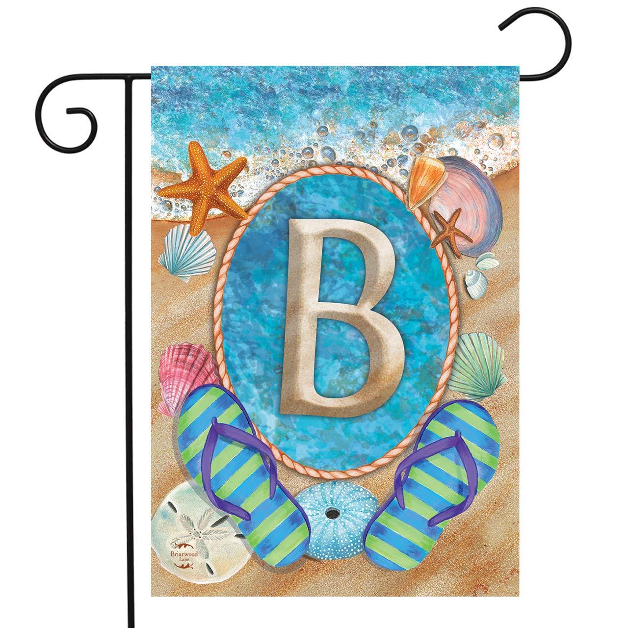 """Briarwood Lane Summer Monogram Letter B Garden Flag Flip Flops Seashells 12.5"""" x 18"""""""