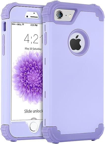 BENTOBEN iPhone 6 Funda, iPhone 6s Funda, 3 en 1 Carcasa Combinada PC Dura y Silicona TPU Suave Fuerte Resistente PC Bumper Antigolpes Cubierta Protectora Fundas para iPhone 6/6s (4.7)- Púrpura: Amazon.es: Electrónica