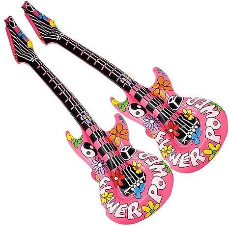 com-four® 2 Guitarras inflables Estilo Hippie como un Accesorio Divertido, tamaño:
