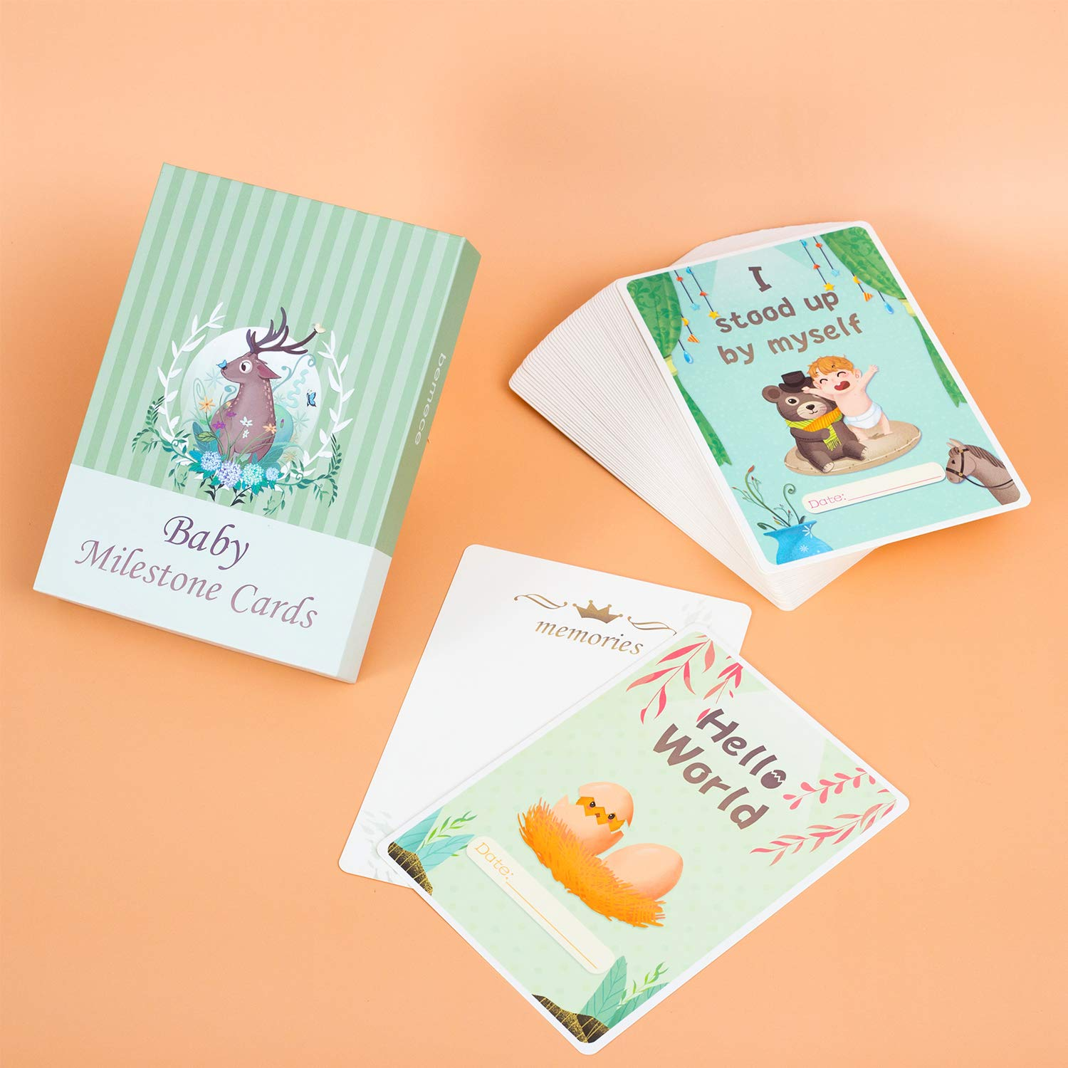 Baby Milestone Cards /& Keepsake Box 50 Unisex Landmark Moment Photo Cards Including Key Age Markers /& Unique Firsts Perfect Baby Shower Gift Set with Original Pattern and Color Designs by bemece