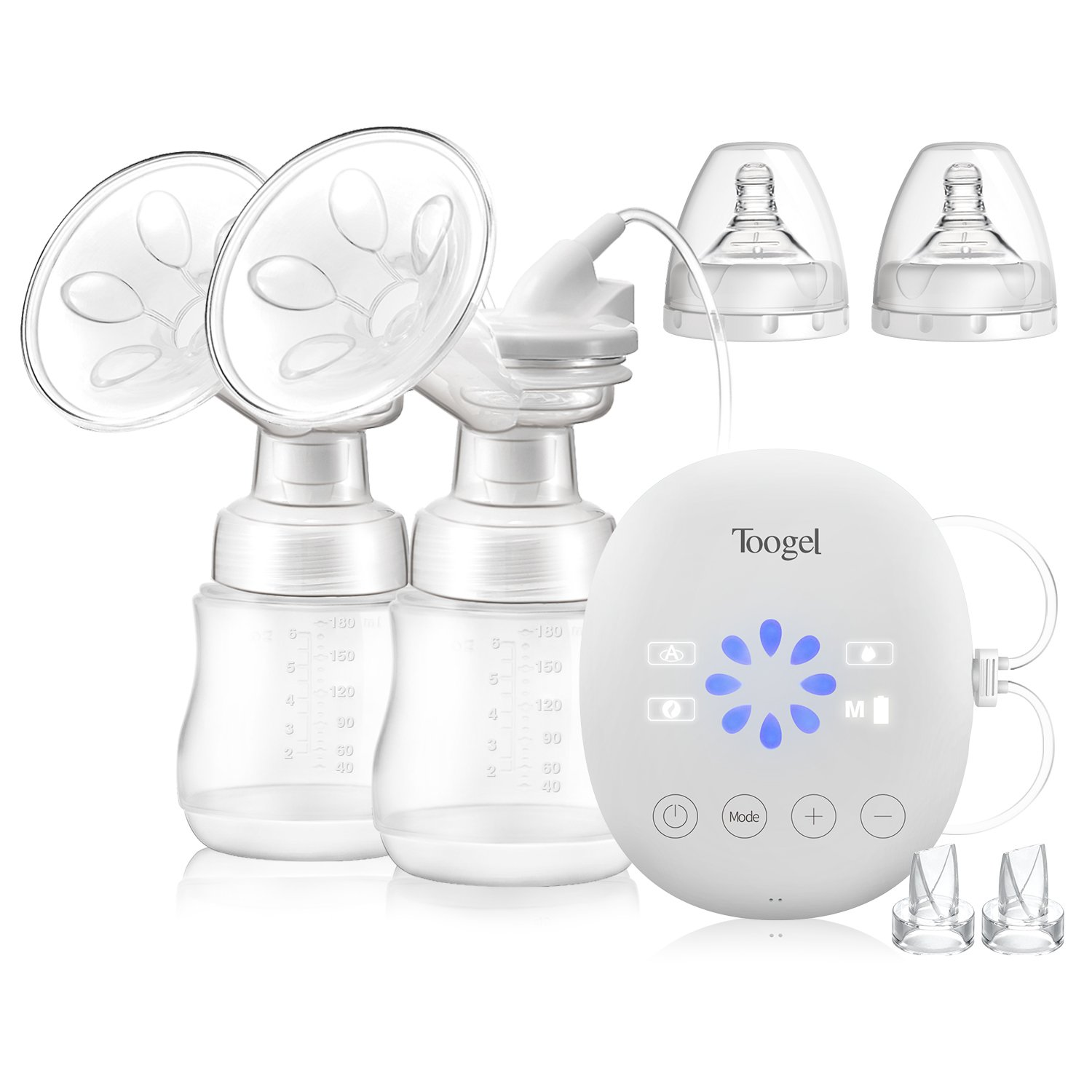 Electric Breast Pump Double/Single Rechargeable Breastfeeding Pump Comfortable Milk Saver Suction Full Touchscreen with Massage/Auto/Manual Mode & 8 Level Settings Toogel