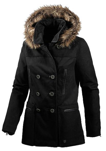 Amazon.com: Vans Women's Emerick Hooded Peacoat-Black-Small: Clothing