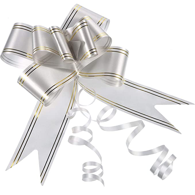 916f506785f93 20 Pack Pull Bows for Wedding Party Gift Wrap, 45 mm (Silver)