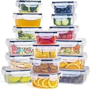 Plastic Food Storage Containers with Lids - 16 Pieces Plastic Storage Containers with Lids, Premium Airtight Lock and Lock Food Storage Containers, BPA-Free & FDA Approved