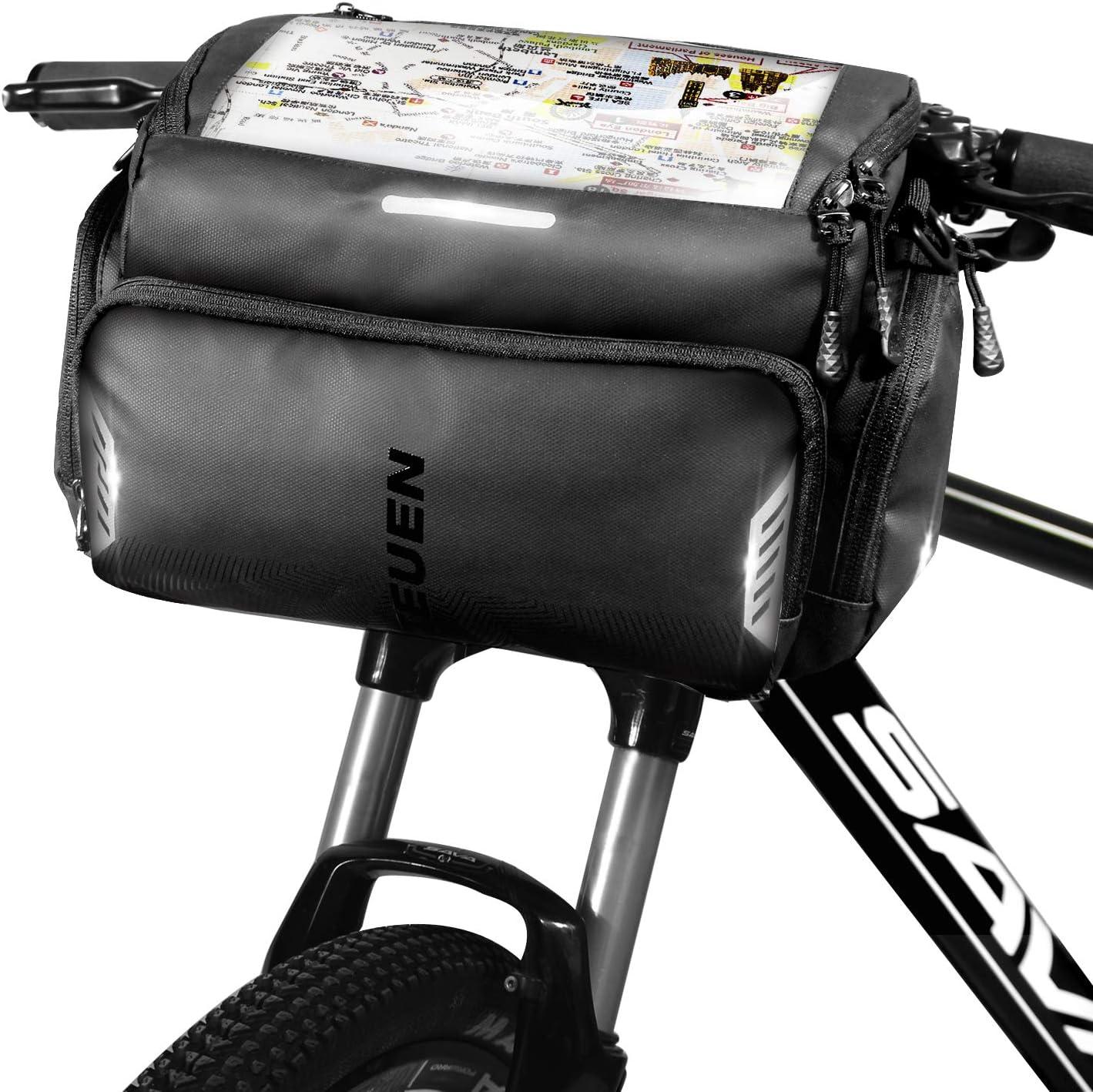 TEUEN Bolsa Manillar Bicicleta Impermeable Bolsa Delantera Bici Montaña con Pantalla Táctil para Movil GPS, 4L Bolsas para Manillar de Bicicleta Carretera con Cubierta de Lluvia y Reflectante