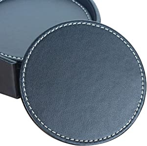 Coasters for Drinks, CARLWAY Leather Coasters with Holder, Protect Furniture from Damage(6PCS, Black)