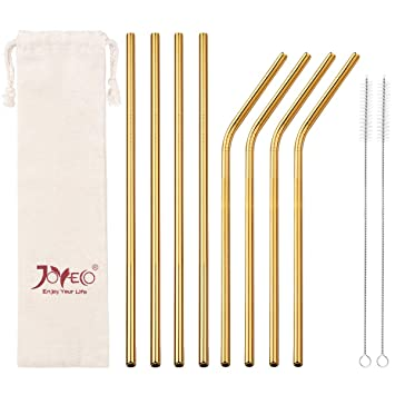 Joyeco Stainless Steel Drinking Straws, Gold Reusable Drink Straw For 20oz Tumblers Rumblers Cold Beverage (Set Of 8,4 Bent+4 Straight + 2 Brushes) by Joyeco