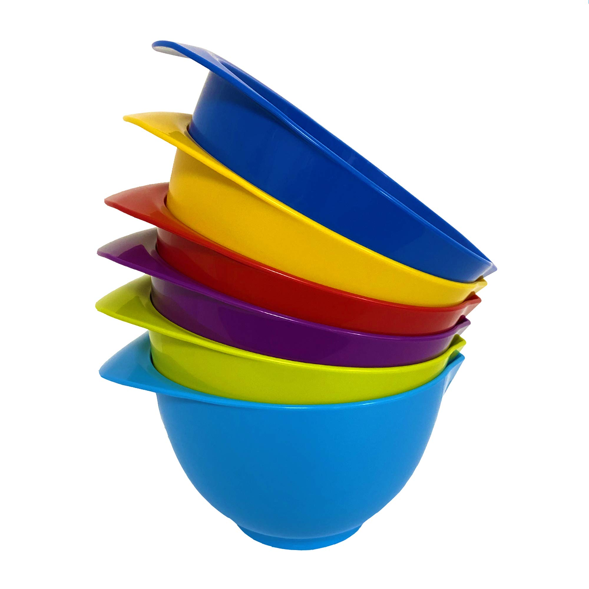 Mixing Bowl with spout and Handle | Set of 6 - Red, Blue, Purple, Green, Yellow, Light Blue | Beautifully Coloured Bowl Set | Compact, Stackable & Ergonomically Designed | Proudly Made in The UK